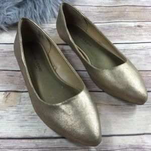 Gold Metalic Flake Point Toe Ballet Flats